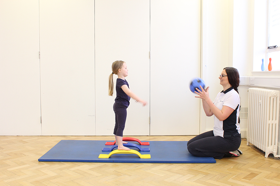 Physio with child - balance/co-ordination